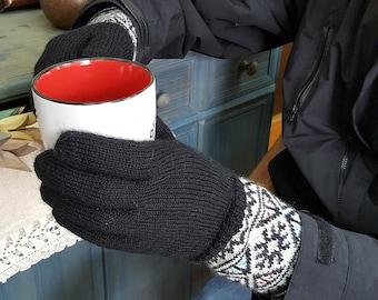 Women Winter Gloves Cold Weather Hand Knit Woolen Gloves Jacquard Pattern Gloves Knit Fair Trade Gloves Winter Set Gloves Hat Collar Gift