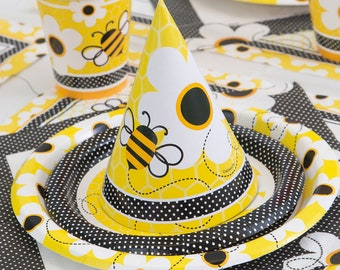 Busy Bee, Birthday Party Set, Bumble Bee, Tablecloth,  Dinner plates, napkins, cups, Table Decoration, Tableware