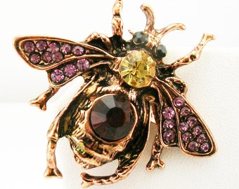 Joan Rivers Jeweled  Bee Brooch  1 1/2""