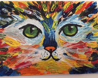 Rainbow Cat in Acrylic Paint
