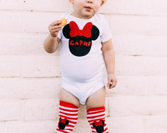 Custom Name Mouse Ears Character Inspired Baby Girl Mouse Outfit