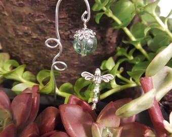Fairy garden lantern with Miniature Green Dragonfly decor