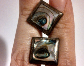 Abalone Square Cuff links / Hecho En Mexico Cufflinks / E.S.A. / Mexican Sterling Silver / Vintage Mens Cuff Links