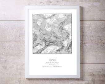 Denali, Alaska Topography Elevation Print Wall Art