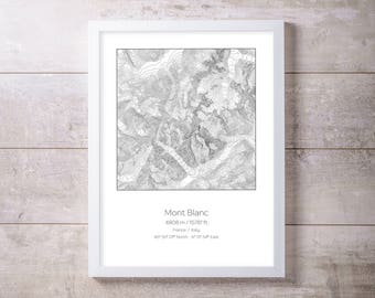 Mont Blanc, France Italy Topography Elevation Print Wall Art
