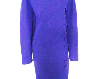 Vintage 60s 70s  hourglass Mad Men Button  Shift Dress Purple Size M ? L