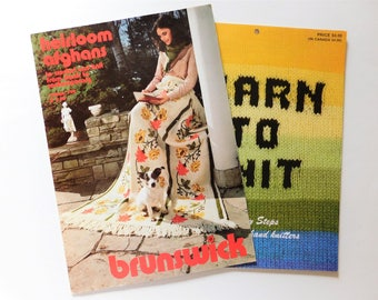 2  Leaflets- Heirloom Afghans By Brunswick - Learn To Knit 6 Easy Steps Knit and Crochet