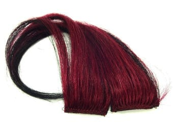 """Set of TWO 10"""" Clip-In Human Hair Streaks, Burgundy and Black Ombré"""