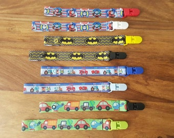 Boys Dummy Clip / Boys Dummy Saver / Boys Soother Clip / Ribbon Dummy Clip