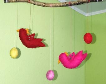 Beautiful mobile, hand felt, for babies, children's felted Merino sheep wool, Easter decor,