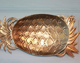 Vintage Brass Footed Pineapple Dish/Wall Hanging, Pineapple Trinket Dish