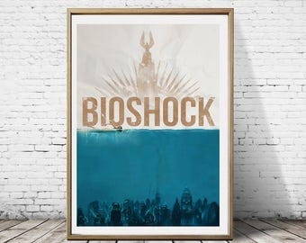 Bioshock Minimal Burial At Sea Rapture Big Daddy Columbia Minimalist Gaming Artwork Print Poster Decoration