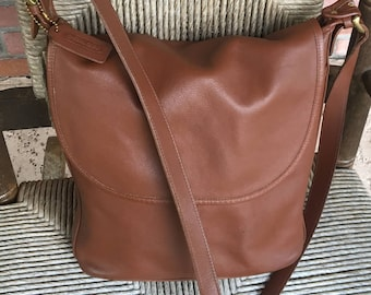 Vintage 1980's COACH 4115 British Tan Medium Brown Glove Leather Whitney Flap Shoulder Bag Purse Made in the USA
