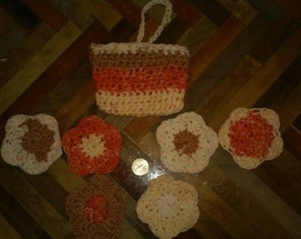 Face scrubbies set of 6. All cotton. Pouch to store them in or use as soap holder in shower. So handy and  cute.