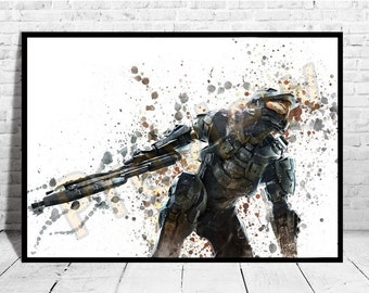 Halo Master Chief Poster,Game Wall Art, Halo Poster, Buy any 2 Prints get 3rd FREE, AG199