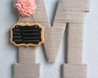 Baby Girl Birth Announcement Hospital Door Hanger Yarn Wrapped Wooden Letter/Nursery Room Decor