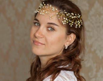 Bridal headpiece, Gold  bridal headpiece, Wedding hair piece, Bridal hair halo, Gold hair vine, Bridal hair vine, Beaded headpiece,