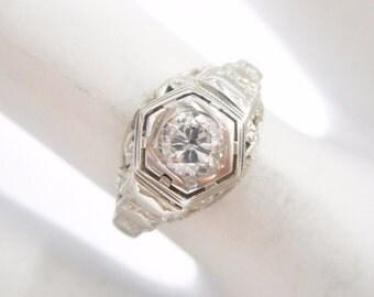 Diamond Ring, Vintage Gold Ring, Vintage Diamond Ring, 18k White Gold .20 Carat Round Diamond Vintage Setting Ring Sz 5.5 #1853
