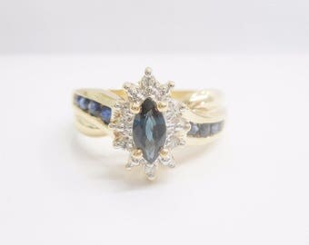 10k Yellow Gold Sapphire Ring, Gold Ring, Sapphire Ring, Marquise Sapphire, Cocktail Ring, Estate, Vintage, Jewelry, Size 5.25, #2456