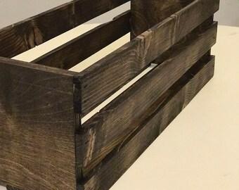 Rustic Wooden Crate. Table decor, Bathroom decor, Rustic decor (Dark walnut stain)