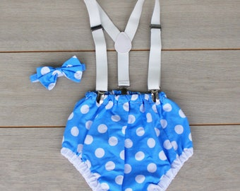 3 Piece Blue & White Polka Dot Cake Smash Outfit