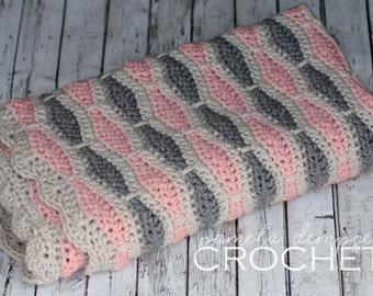 Crochet Baby Blanket, Pink Grey Blanket, Honeycomb Blanket, Baby Girl blanket, crib blanket, photo prop Baby Shower lapghan