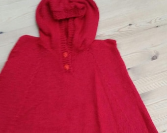 Hand knitted Red poncho,cape.for 1-2year old