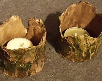 Bark Candle Holders