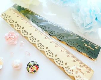 Lace Wood Ruler Deco Planning Stationery
