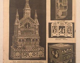 Vintage Original 1880 J R Bowman's Famous Designs Fret Work Woodworking Catalog Clocks Furniture 1800's