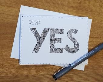 RSVP yes doodle card, RSVP card, Wedding response card