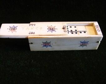 Antique Mexico Hand Carved Bovine Bone Dominoes and Bovine Bone Box