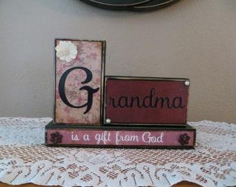 Grandma Wood Blocks Love House Gifts Mother's Day Birthday Gift Grandparents Love