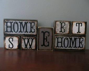 Home Sweet Home Wood Blocks Home Family Home Decor Mantel Stacked Blocks Housewarming Gift