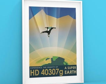 HD 40307 | NASA Poster Visions of the Future Print, Space Tourism Giclée Wall Hanging Poster by NASA and Jet Propulsion Laboratory