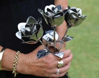 Metal Roses, Spoon Roses, Stainless Roses, Wedding Roses, Handmade Roses