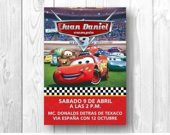 Invitation birthday Digital - Cars