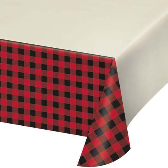 Red Plaid Plastic Tablecover/ Buffalo Plaid Table Cover/ Lumberjack Party  Tablecover/ Red And Black Plaid Party From FancyCelebration On Etsy Studio