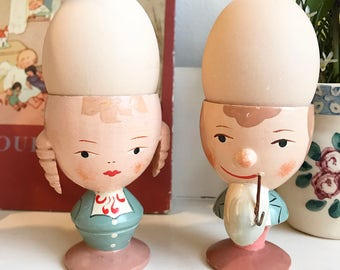 Wooden Folk Egg Cups