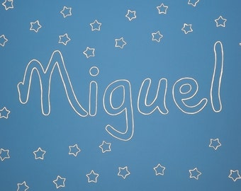 """Personalized Wall painting for children bedroom-theme """"Stars""""/custom painting for child's room-sample song """"Stars"""""""