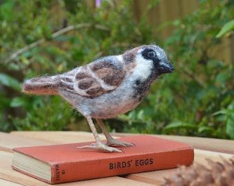 Needle felted Sparrow Bird sculpture
