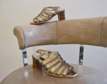 Bronze heeled sandals