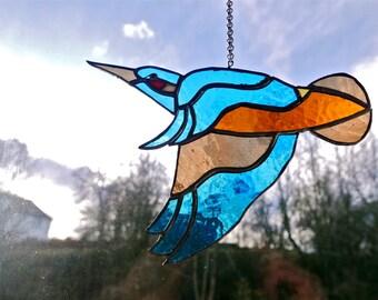 Stained Glass Kingfisher, Suncatcher, Glass Art, Wildlife, Original Stained Glass Design