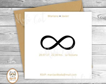 Infinity Printable Invitation Wedding Modern Minimalist Chic White And Black