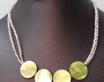 Silver and olive shell necklace