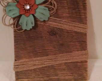 Barnwood picture frame with turquoise flower