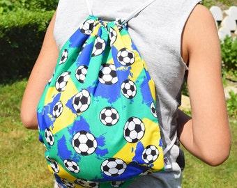 Kids drawstring backpack, soccer backback, drawstring bag, gym backpack, sports bag, handmade backpack, string backpack, sackpack, ball bag