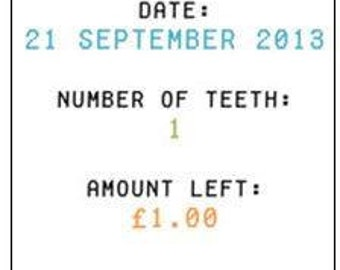 Digital download personalised tooth fairy money receipt Choice of two