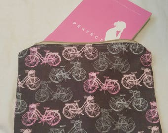 Large Pink & Gray Zipper Pouch with Bicycle Motif; cosmetic bag; zipper clutch; makeup bag; gadget case; gift for her; girls pouch