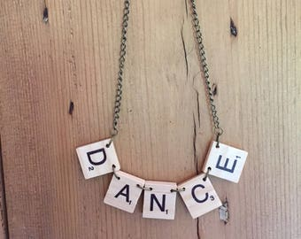 Scrabble tile necklace featuring your name / your word